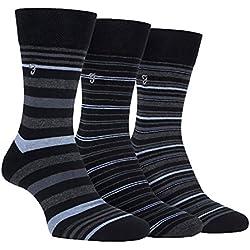 Farah - 3 Pares Hombre Elegante Fantasía Diseños Rayas Respirable Cortos Lujo Clásicos Algodón Rico Calcetines de Vestir (39-45 EU, CS117BKCH (Striped))