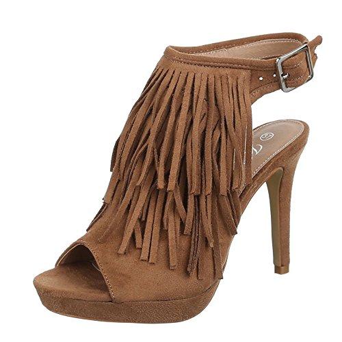 Damen Schuhe, XQ682, SANDALETTEN HIGH HEELS PUMPS PLATEAU STILETTO Camel