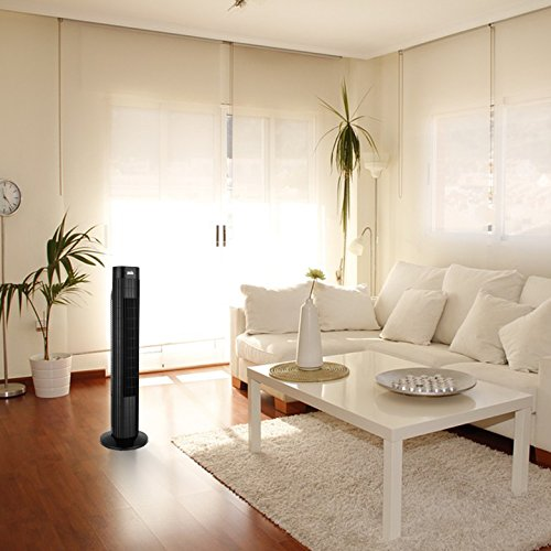 ANSIO Black Oscillating Tower Fan with Remote Control and 3-Speed 3-Wind Mode with Long 2m Cable, 30-Inch. Batteries NOT Included