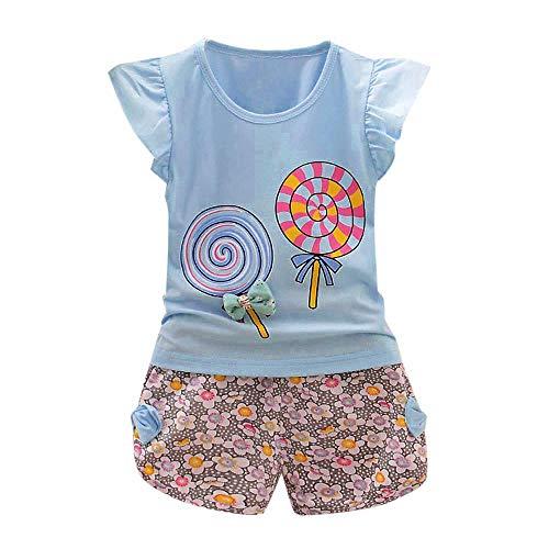 YWLINK 2PCS MäDchen Süß Outfits Lolly RüSchen KappenhüLse T-Shirt Tops + Blume Drucken Kurze Hosen Urlaub Strand Set(Hellblau,110)