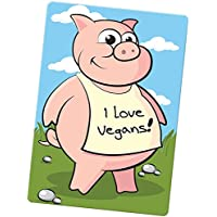 Pig Wearing I Love Vegans Large Fridge Magnet 96mm x 66mm