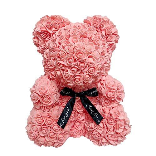 Romantische Rose Peach (AoJuy 40 cm Rosenbär, Kunstblume Teddybär, Liebesherz, Schaumstoffrose, Hochzeits-Party, Geschenk, Heimdekoration - Peach pink)