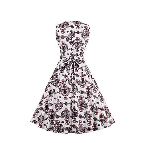 iShine elegant Rockabilly Kleider Damen 50er Jahre Retro Kleider Ärmellos Sommerkleid Audrey Hepburn Partykleider Cocktailkleid Knielang Schwarz