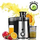 Meykey Licuadoras Para Verduras y Frutas 350W, Exprimidor y Extactor de Zumo Boca Ancha de 65mm, 2 Velocidades, Negro
