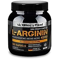 L-Arginin 380 Kapseln Hochdosiert - 4500mg Arginin-Hydrochlorid (HCL) = 3750mg reines L-Arginin - PREIS-LEISTUNGSSIEGER 2018* - Laborgeprüft Ohne Magnesiumstearate hergestellt in Deutschland