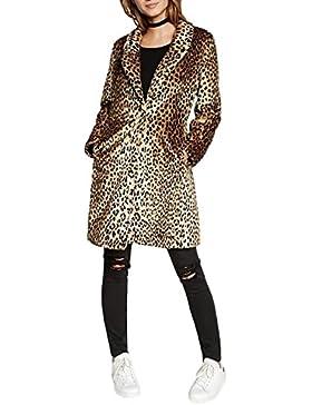 Chaqueta de piel sintética de manga larga para mujeres, ideal para el invierno Marrón marrón Large