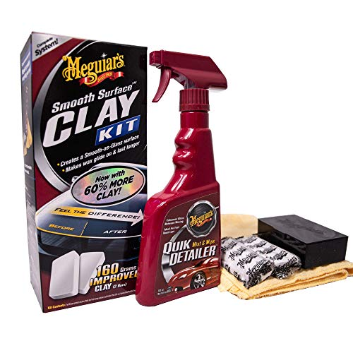 Meguiar's G1016EU Smooth Surface Clay Kit Lackreinigungsset, 473 ml+2*80 g