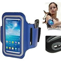 TechExpert Brassard sport tour de bras bleu pour Samsung Galaxy SIV mini S4 mini/i9190 idéal pour les sportifs, course à pied ou salle de sport avec pochette pour clés