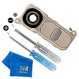 MMOBIEL Rück Back Kamera Linse Glas für LG G4 (Gold) Ersatzteil + Klebepads und 2 Schrauben und Schraubenzieher mit Mikrofaser Tuch und Rahmen