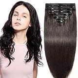 Clip in extensions echthaar Doppelt Tressen 100% Remy Echthaar 8 teiliges set Haarverlängerung dick (25cm-110g,#1B Naturschwarz)