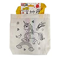 Oodles Childrens Colour Your Own Tote Bag with Felt Tips - Unicorn, Rainbow and Sparkle