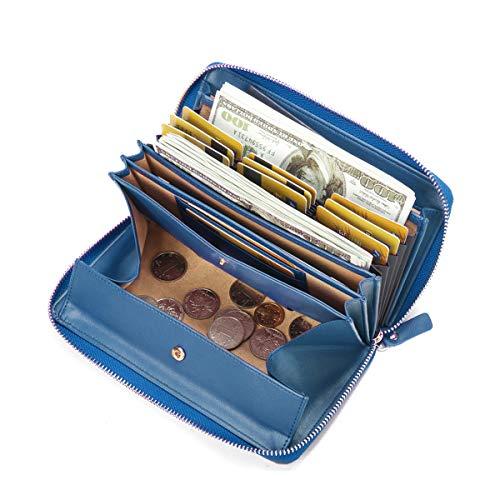 Damen Leder Geldbörse, Brenice RFID Rindleder Reißverschluss Lange Brieftaschen Große Kapazität 11 Kartenhalter Geldbörse für Frauen Blau -