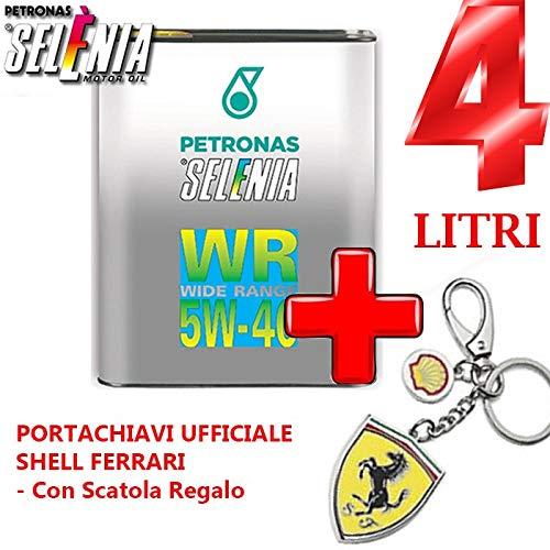 2 FUSTI da 2 LT Olio LUBRIFICANTE SELENIA Petronas WR Wide Range Diesel GRADAZIONE 5W-40+Portachiavi Ufficiale Shell Ferrari - con Scatola Regalo