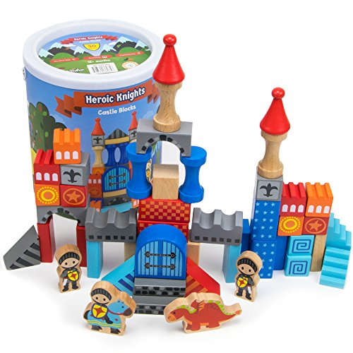 Heroic Knights Wooden Castle Building Blocks, 50-piece Medieval Play Toy Set in Storage Drum by Imagination Generation