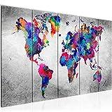 Bilder Weltkarte World map Wandbild 200 x 80 cm Vlies - Leinwand Bild XXL Format Wandbilder Wohnzimmer Wohnung Deko Kunstdrucke Bunt 5 Teilig - MADE IN GERMANY - Fertig zum Aufhängen 013355b
