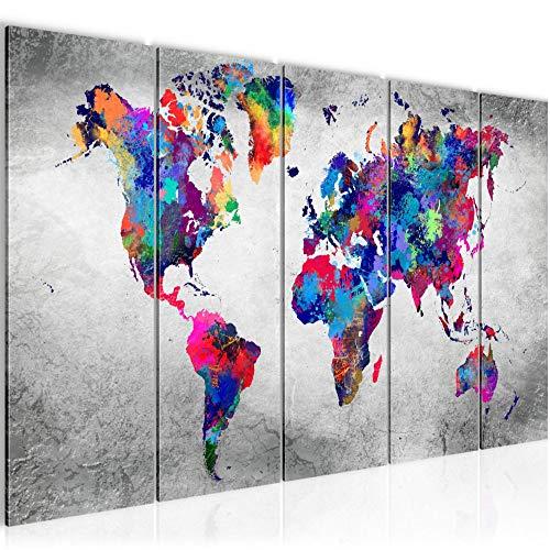 Bilder Weltkarte World map Wandbild 200 x 80 cm Vlies - Leinwand Bild XXL Format Wandbilder...