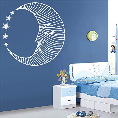 wlwhaoo Mond Lotus Blume Meditation Wandtattoos Wohnzimmer Dekoration Vinyl Wandaufkleber für Yoga Studio Decor Art Aufkleber Wanddekor lila M 30 cm X 30 cm