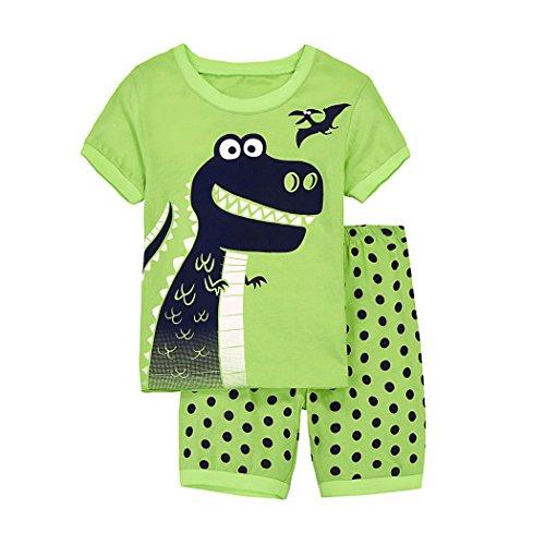 Tarkis Kinder Jungen Baumwolle Dinosaurier Schlafanzug Sets Langarm Kurzarm Nachtwäsche Pajama für Jungen Mädchen Frühling und Sommer 122