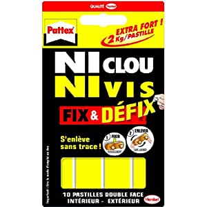 Pattex adesivi 10 pastiglie per fissaggio doppio for Chiodi adesivi