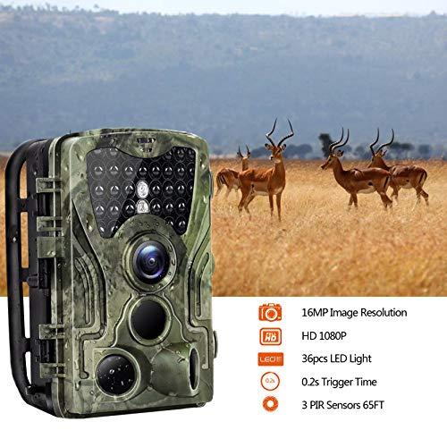 Micoke Caméra de Chasse 16MP 1080P HD avec 3 Capteurs de 36 IR Capteurs à LED Infrarouges Angle...