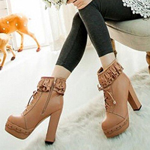 Oasap Femme Boots A Lacet Talons Hauts Talons Bloc Dentelle Zip Abricot