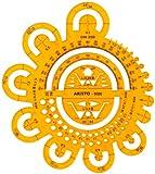 Aristo Abrundungsschablone (mit verschiedenen Radien und Symbolen) transparent gelb