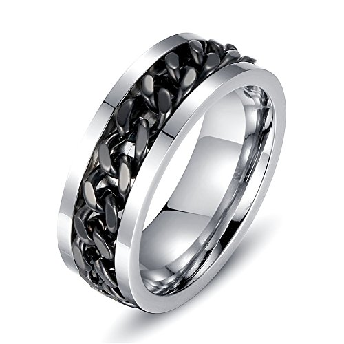 Men Ring, Black Spinner Chain Central Engagement Party Jewelry (T 1/2)