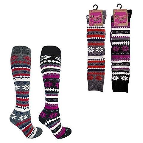 femmes Riche coton épais Fairisle matelassé Chaussettes Hautes Genoux bottes caoutchouc Chaussettes tailles UK 4 pour 7 parfait pour Noël - 2 paires, 4-7