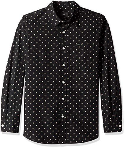 Obey Herren Darcey Long Sleeve Woven Shirt Button Down Hemd, Schwarz Multi, Mittel - Long Sleeve Woven Shirt