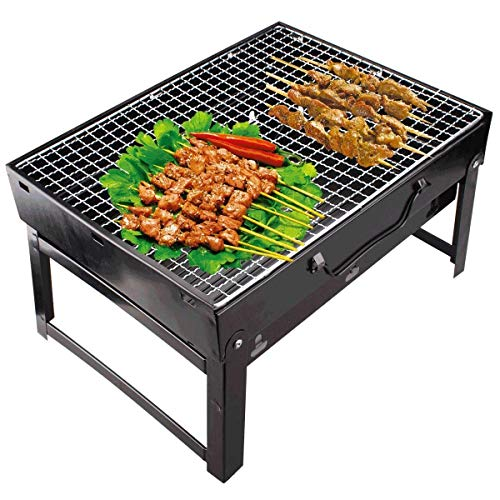 KAVID Carbon Steel Portable Briefcase Style Folding Barbecue Grill (Black)