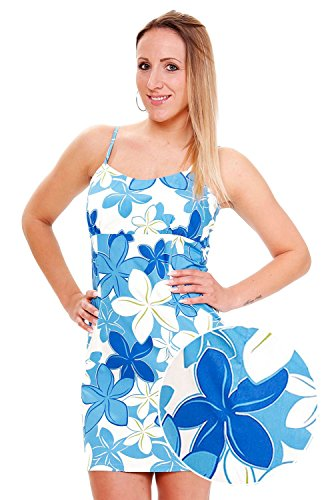 Pacific-Legend-Original-Hawaii-vestido-Mujer-S-XXL-Verano-Hawaii-de-Print-Flores-Blanco-turquesa-Wei-Trkis-extra-large