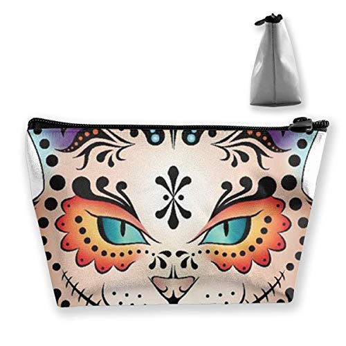 Pencil Case Sugar Skull Kitty Pouch Portable Cosmetic Handbag Coin Purse Travel Toiletry Beach Wash Bag
