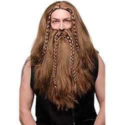 WIG ME UP ® - 6098A+B-P6 Peluca y Barba larga trenzada Halloween Carnaval vikingo bárbaro normando gnomo marrón