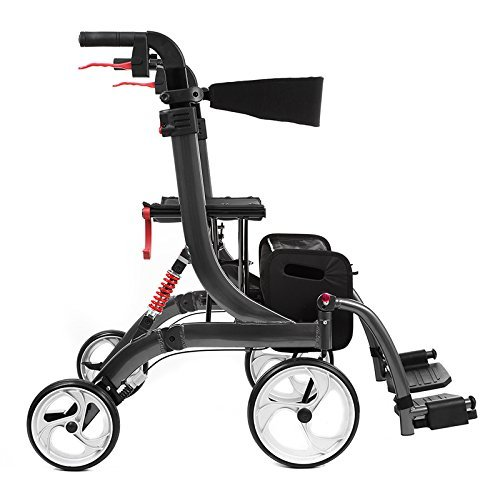 Besco Medical Faltbarer Leichtgewicht-Rollator und Transport-Rollstuhl Spring Vario aus Aluminium, mit Fußstützen, Federung, komplette Ausstattung (Vorne Rollstuhl Räder)