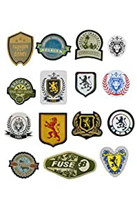 Arrow Textiles Limited Iron-On Cloth Fabric T-Shirt Patches/ Emblem & Badge Decorative Garment Design Appliques for Jeans Pant, Vests, Denim Jackets, Tops, Hats, Sweatshirts, Backpacks & Bags - 15 Pcs
