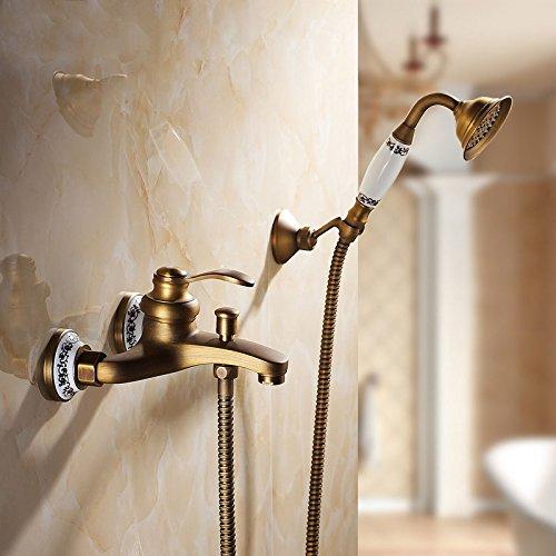 SDKKY Die Europäische Antike Bronze Kupfer blaue und weiße Porzellan Bad Badewanne Armatur Dusche mit heißem und kaltem Wasser (Bronze Porzellan)