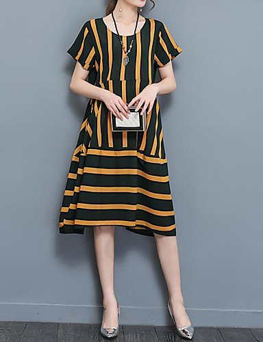 DESY Ample Robe Femme Travail Grandes Tailles Décontracté / Quotidien Vintage Bohème Chinoiserie,Rayé Col Arrondi Mi-long Manches Courtes Brown