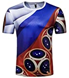 Whatlees Herren Slim Fit FIFA Fussball WM 2018 3D Druck T-Shirt Russland
