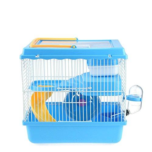 Pet Online Jaula de hámster con hervidor de cinta y juguetes de segunda planta villa de lujo, azul