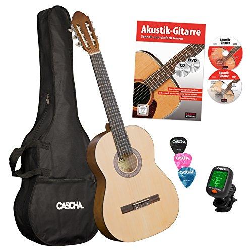 cascha HH 2029de chitarra da concerto 4/4Bundle con scuola di chitarra, Accordatore, tasche e 3Picks Natura Matt