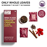 #6: Onlyleaf Hibiscus Cinnamon Clove Green Tea, 25 Tea Bags with 2 Free Exotic Samples
