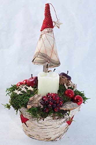 Weihnachtliches Gesteck mit weißer LED Echtwachskerze - Tischgesteck in rot,grün,weiß zu Weihnachten mit natürlichen und künstlichen Materialien