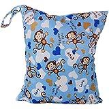 Bolsa de panal de bebe - TOOGOO(R)Bolsa de panal de bebe de tela impermeable reutilizable y lavable con doble cremalleras (Patron de mono, azul)