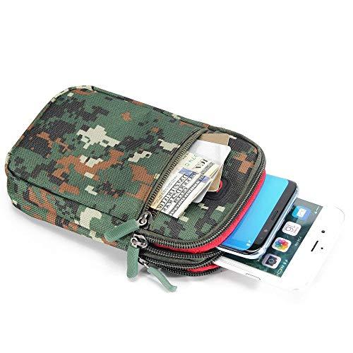 DFVmobile Mehrzweck Tarnung Gürteltasche Militär Marine für=> BENQ F55 4G LTE > Braun/Grün (17.5 x 10 cm) -