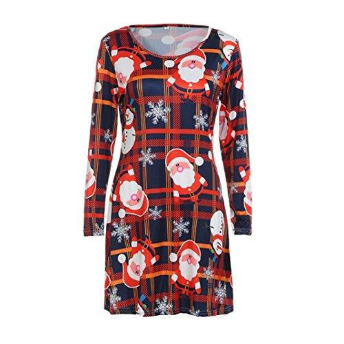 Damen Weihnachtskleid Sonnena Christmas Dress RundHals Kleider Abendkleid Lange Ärmel Kleid Weihnachtsdeko muster Festlich Kleid Swing Minikleid Partykleid Großen Top (Orange, XL) (Starke Frau Halloween Kostüm)