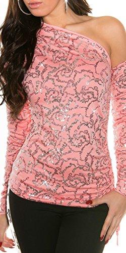 KouCla One Shoulder Shirt mit Pailletten - Elegantes Party Top in versch. Farben - Gr. XS-S 34-36 (ISF8940) Coral