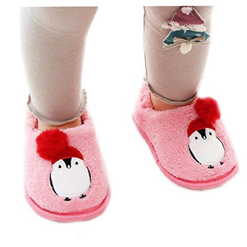 zapatos princesa niñas invierno, Sannysis Zapatilla de casa Calzado para niños pequeños bebé niña niño zapatillas de algodón suave bebe dress up zapatos de seguridad (15CM, Rosa)