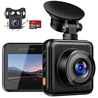 APEMAN Dash Cam for Cars Front and Rear with Night Vision and SD Card Included, 1080P FHD Mini Car Camera, Dual Lens 170°Wide Angle Driving Recorder with G-Sensor, Parking Monitor, Loop Recording, WDR
