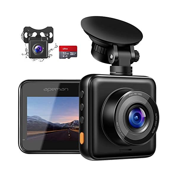 APEMAN Dual Lens Dash Cam for Cars Front and Rear with Night Vision and SD Card Included, 1080P FHD Mini Car Camera, 170°Wide Angle Driving Recorder with G-Sensor, Parking Monitor, Loop Recording, WDR 1