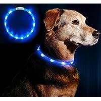 [Gesponsert]LED Leuchthalsband Hunde Halsband - Anicoll USB wiederaufladbar - Längenverstellbarer Haustier Sicherheit Kragen für Hunde und Katzen- 3 Modus 12 Lichte (blau)